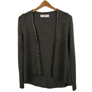 Zara Knit Beaded Trim Cardigan Sweater Medium
